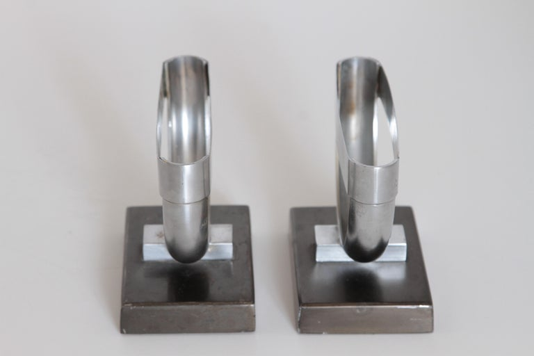 Mid-20th Century Machine Age Art Deco  Norman Bel Geddes Pair Revere Crescent Candlestick Holders For Sale