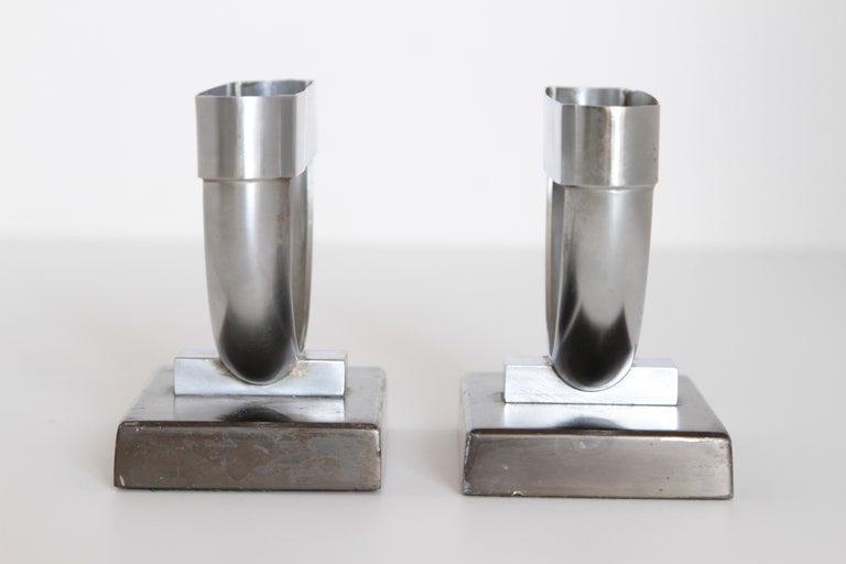 Chrome Machine Age Art Deco  Norman Bel Geddes Pair Revere Crescent Candlestick Holders For Sale