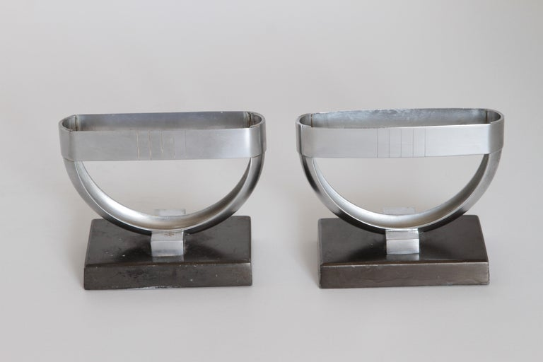 Machine Age Art Deco  Norman Bel Geddes Pair Revere Crescent Candlestick Holders For Sale 1