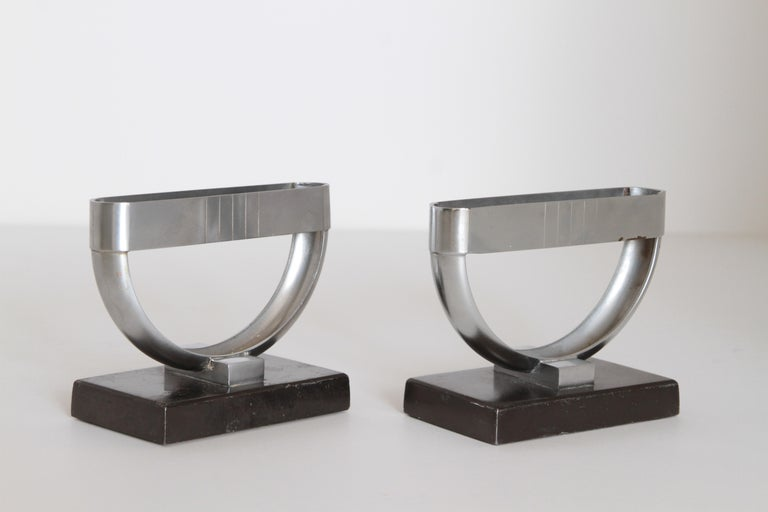 Machine Age Art Deco  Norman Bel Geddes Pair Revere Crescent Candlestick Holders For Sale 2