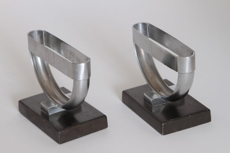 Machine Age Art Deco  Norman Bel Geddes Pair Revere Crescent Candlestick Holders For Sale 3