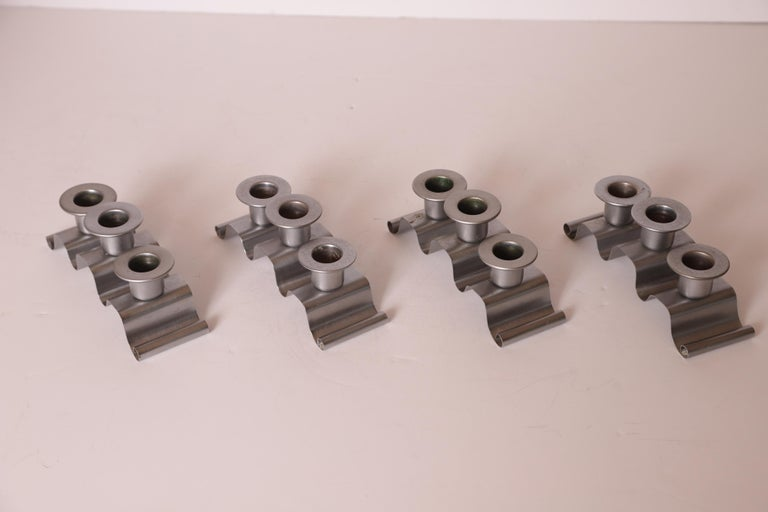 Machine Age Art Deco Norman Bel Geddes Revere Tuxedo Candlestick Holders, Set 4 For Sale 4