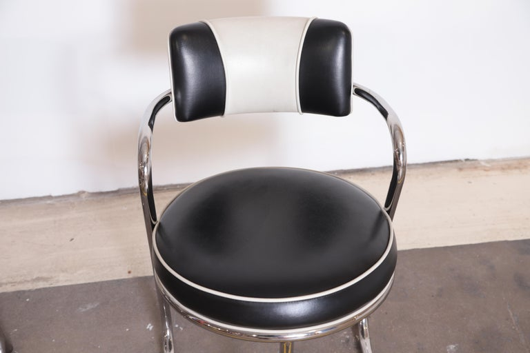 Machine Age Art Deco JAZZ Armchairs, Manner of Donald Deskey, Royalchrome, Pair For Sale 4