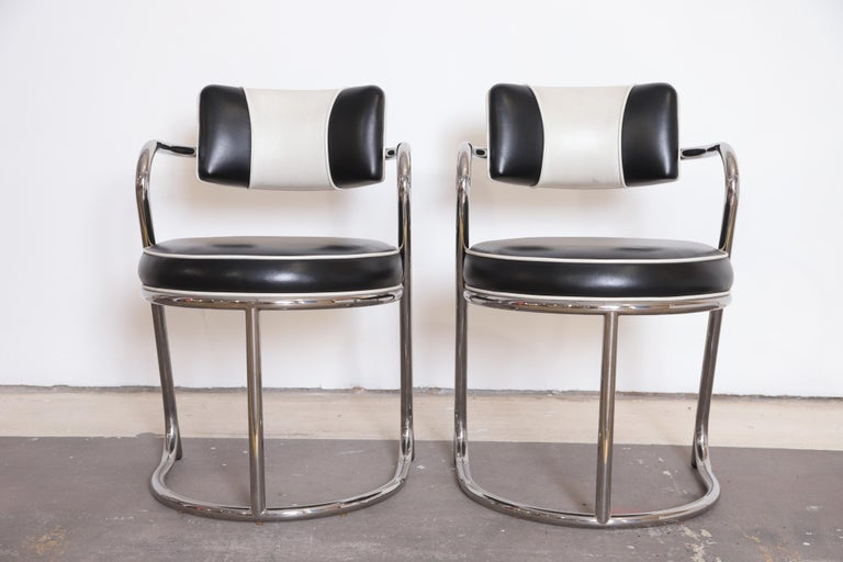 Machine Age Art Deco JAZZ armchairs manner of Donald Deskey for Royalchrome.