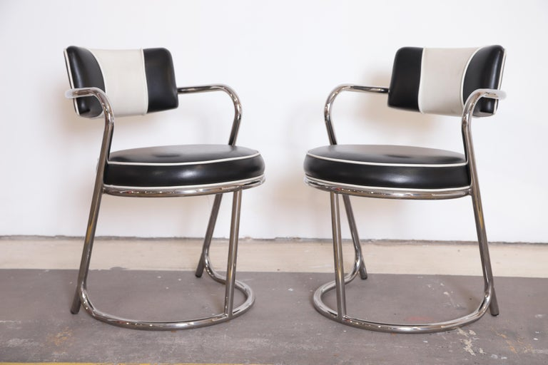 American Machine Age Art Deco JAZZ Armchairs, Manner of Donald Deskey, Royalchrome, Pair For Sale