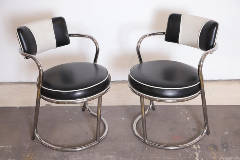 Machine Age Art Deco JAZZ Armchairs, Manner of Donald Deskey, Royalchrome, Pair In Good Condition For Sale In Dallas, TX
