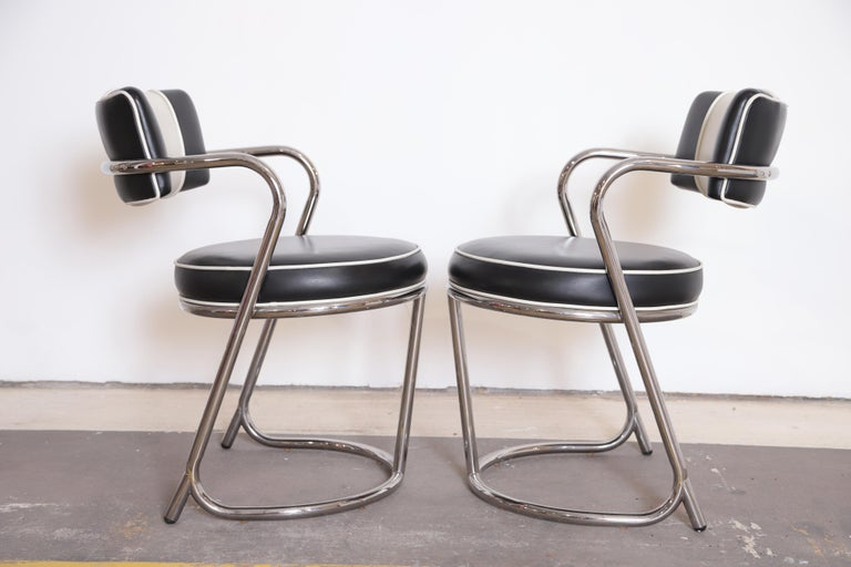 1980s Machine Age Art Deco JAZZ Armchairs, Manner of Donald Deskey, Royalchrome, Pair For Sale