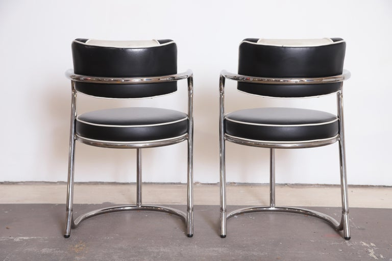 Faux Leather Machine Age Art Deco JAZZ Armchairs, Manner of Donald Deskey, Royalchrome, Pair For Sale
