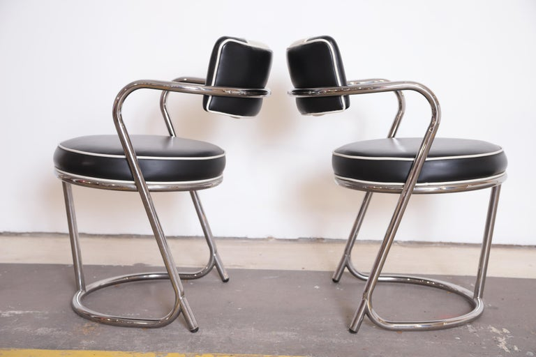 Machine Age Art Deco JAZZ Armchairs, Manner of Donald Deskey, Royalchrome, Pair For Sale 1