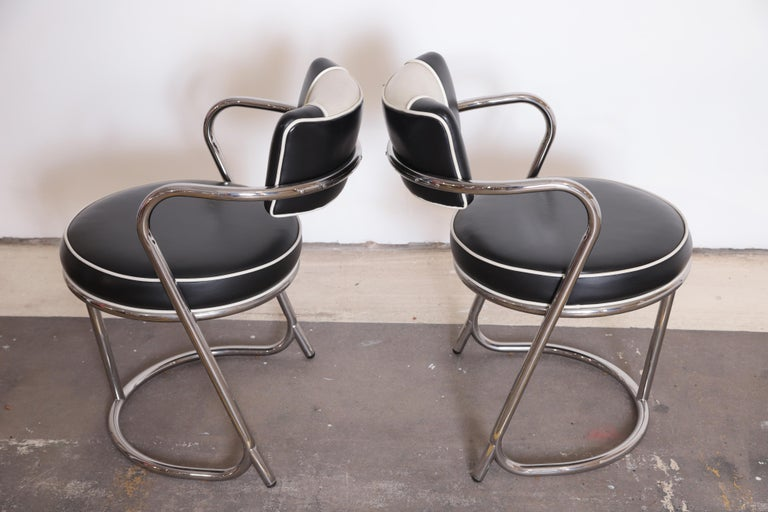 Machine Age Art Deco JAZZ Armchairs, Manner of Donald Deskey, Royalchrome, Pair For Sale 2