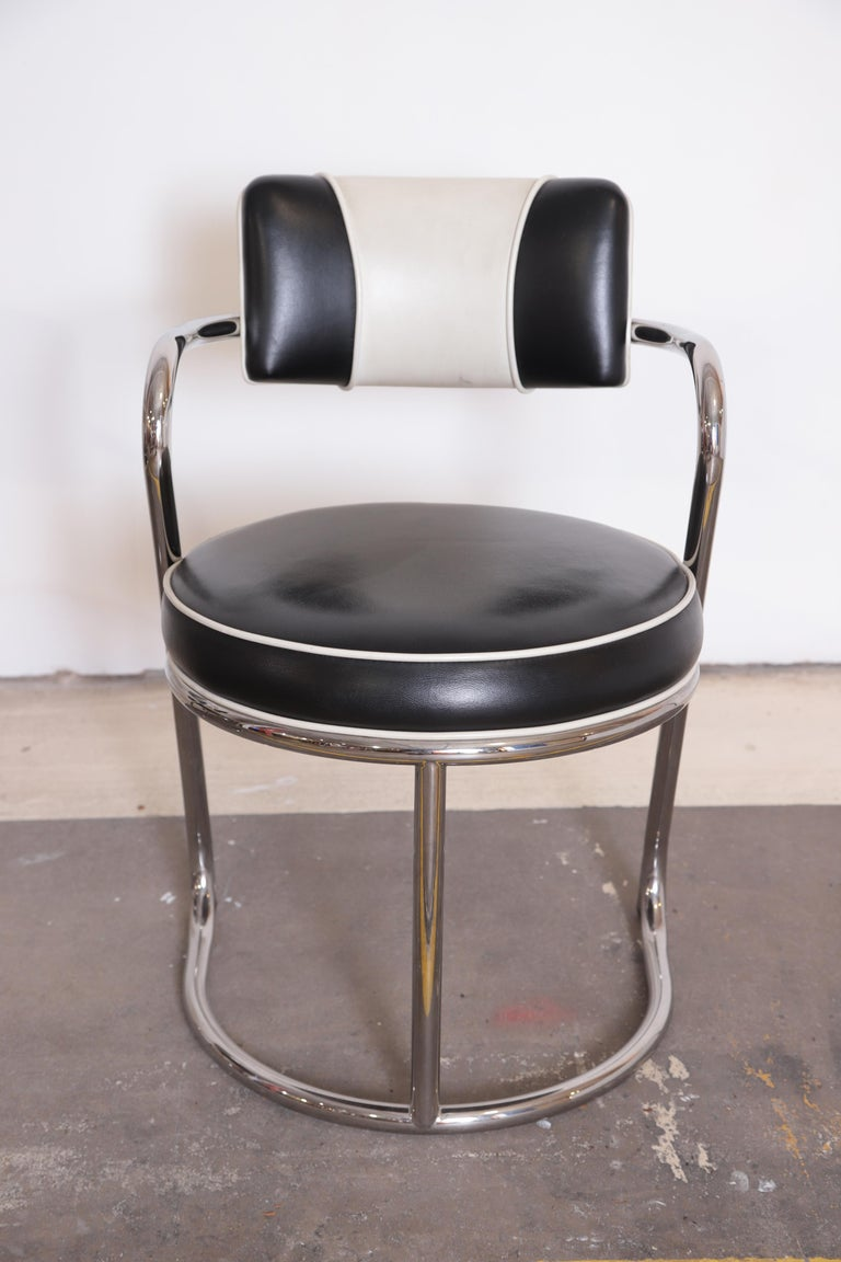 Machine Age Art Deco JAZZ Armchairs, Manner of Donald Deskey, Royalchrome, Pair For Sale 3