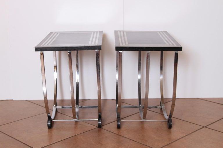 Machine Age Art Deco Pair McKay Inlaid Aluminum End Tables McKaycraft For Sale 5