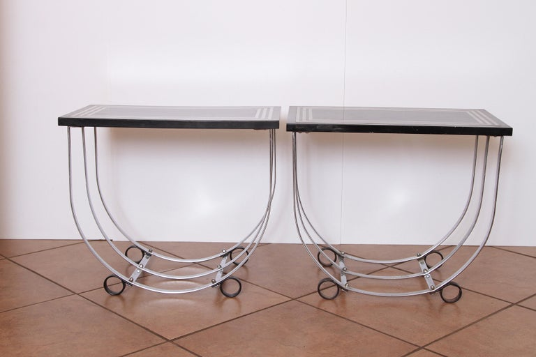 Machine Age Art Deco Pair McKay Inlaid Aluminum End Tables McKaycraft For Sale 6
