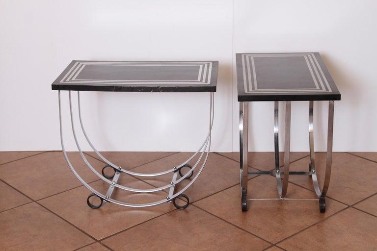 American Machine Age Art Deco Pair McKay Inlaid Aluminum End Tables McKaycraft For Sale