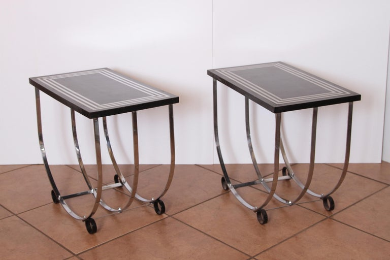 Plated Machine Age Art Deco Pair McKay Inlaid Aluminum End Tables McKaycraft For Sale