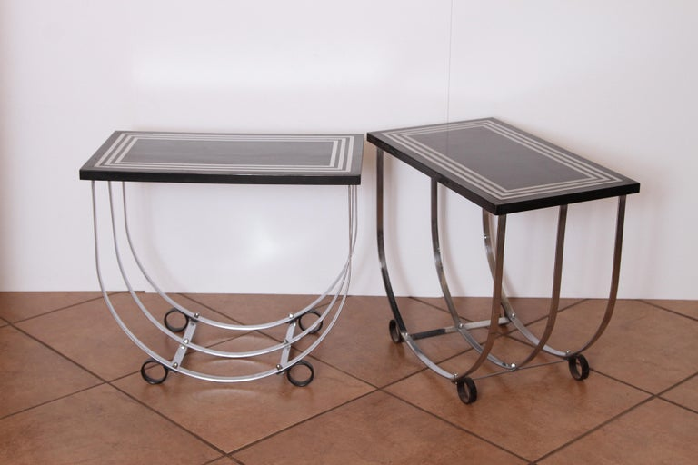 Machine Age Art Deco Pair McKay Inlaid Aluminum End Tables McKaycraft In Good Condition For Sale In Dallas, TX