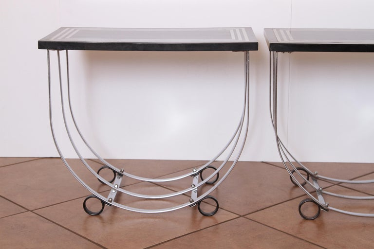 Machine Age Art Deco Pair McKay Inlaid Aluminum End Tables McKaycraft For Sale 2