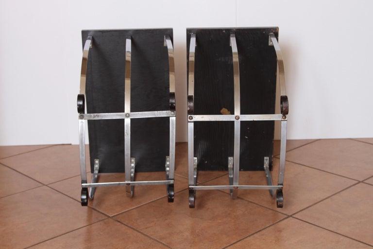 Machine Age Art Deco Pair McKay Inlaid Aluminum End Tables McKaycraft For Sale 3