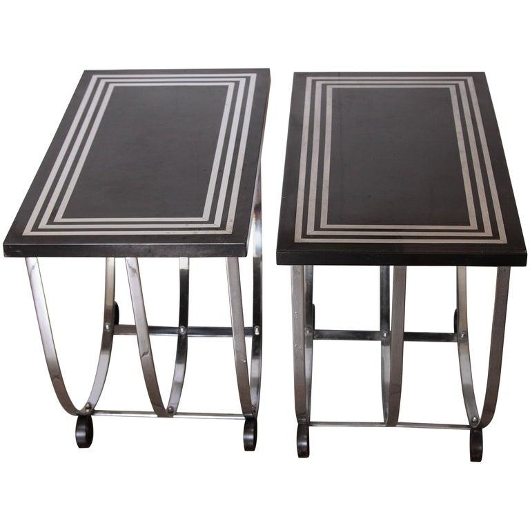Machine Age Art Deco Pair McKay Inlaid Aluminum End Tables McKaycraft For Sale