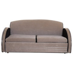 Machine Age Art Deco Jazz Sofa, Manner of Donald Deskey, Royalchrome