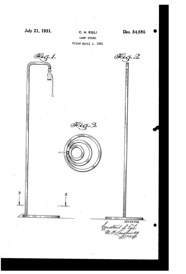 Machine Age Art Deco Patented EGLI Floor & Table Lamps, circa 1931, Rare Matched For Sale 7