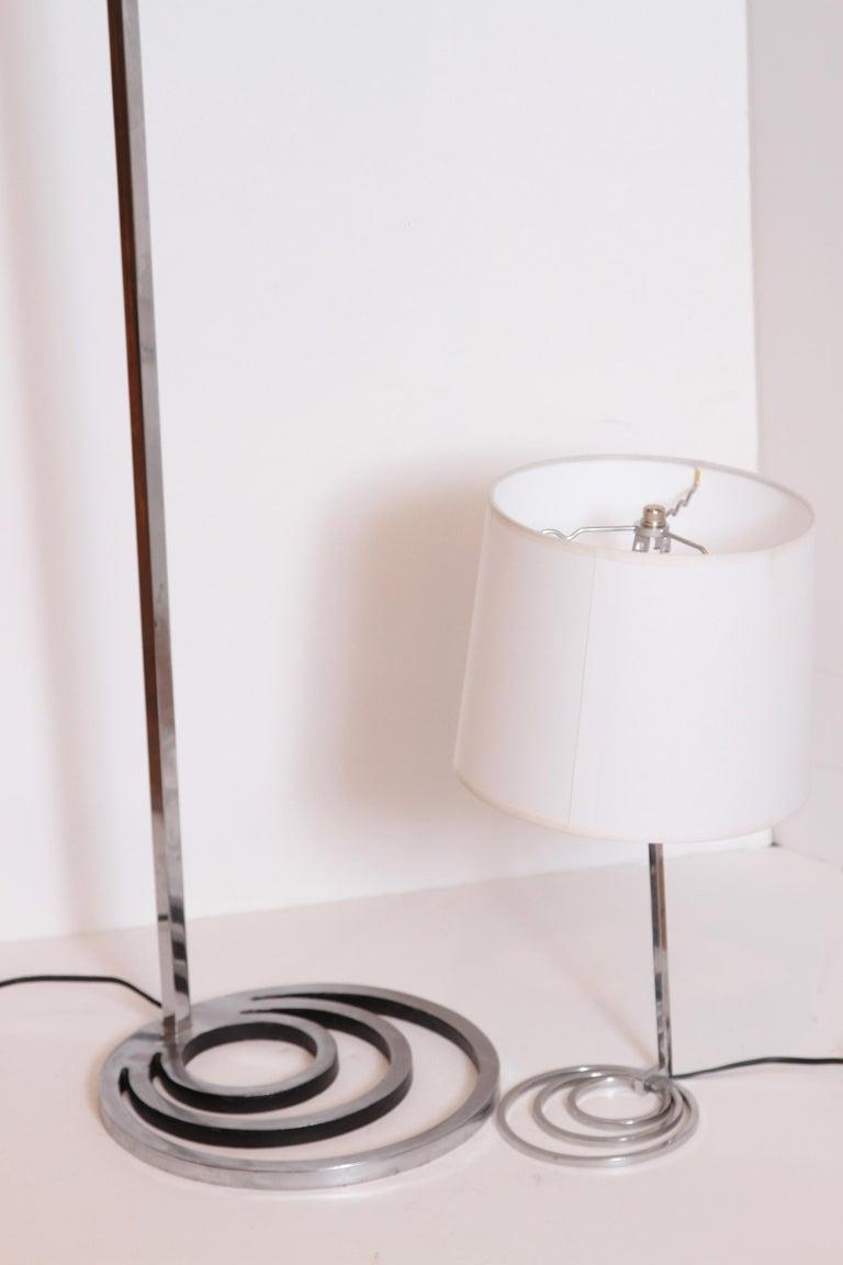 American Machine Age Art Deco Patented EGLI Floor & Table Lamps, circa 1931, Rare Matched For Sale