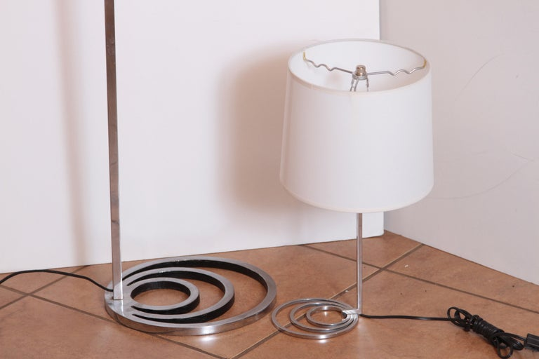Machine Age Art Deco Patented EGLI Floor & Table Lamps, circa 1931, Rare Matched For Sale 2