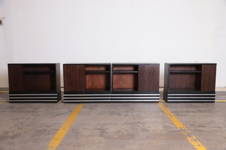 Machine Age Art Deco Paul Frankl attributed  Skyscraper modular living room suite sectional rectilinear   Price Reduced from $22,500  Iconic low-profile modernist bookmatched design.  Book matched Book ended Two end-tables flanking armless sofa as