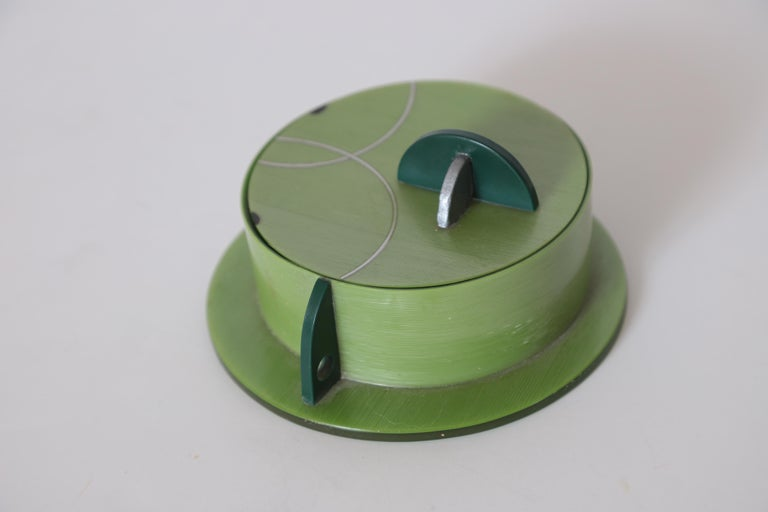 American Machine Age Art Deco Paul Frankl Streamline Celluloid Rond Covered Vanity Box For Sale