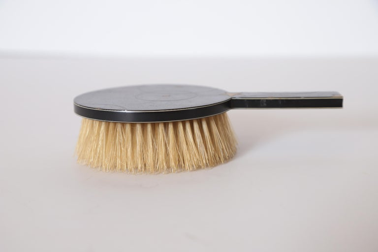 Mid-20th Century Machine Age Art Deco Paul Frankl Streamline Celluloid Rond Vanity Brush For Sale