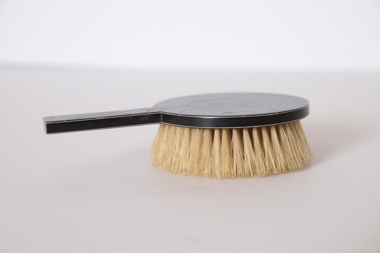 Machine Age Art Deco Paul Frankl Streamline Celluloid Rond Vanity Brush For Sale 1