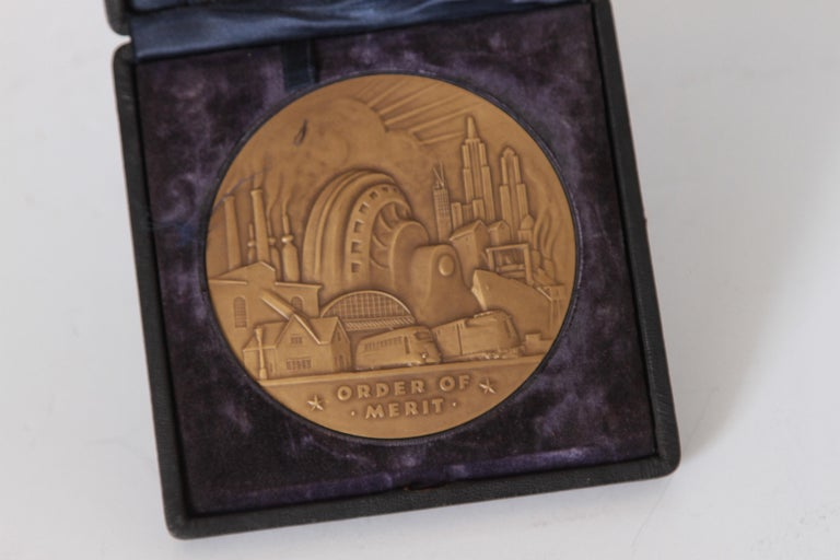 Machine Age Art Deco Rene Chambellan Medallion, Rare Oversized Westinghouse Order of Merit, circa 1935