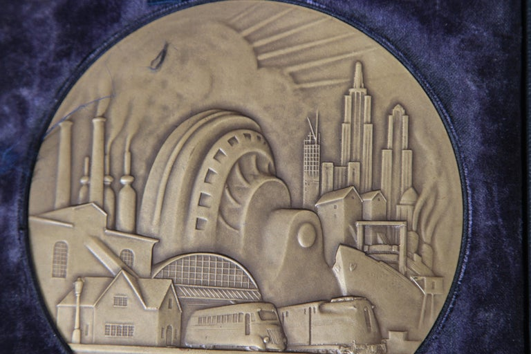 Mid-20th Century Machine Age Art Deco Rene Chambellan Medallion, Rare Oversized Westinghouse For Sale