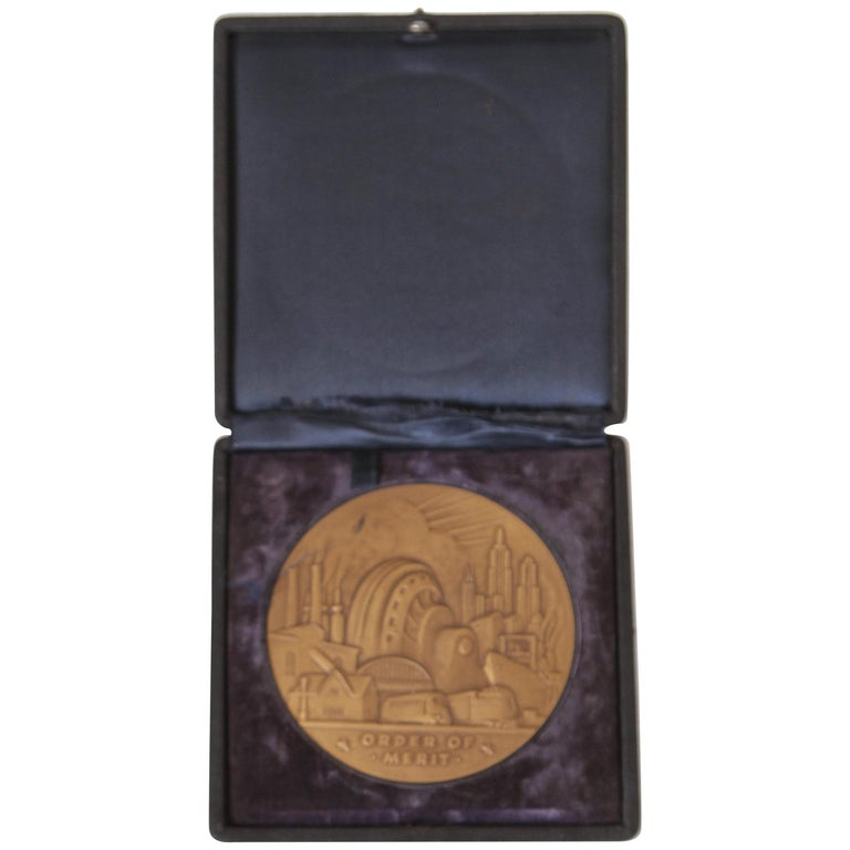 Machine Age Art Deco Rene Chambellan Medallion, Rare Oversized Westinghouse For Sale