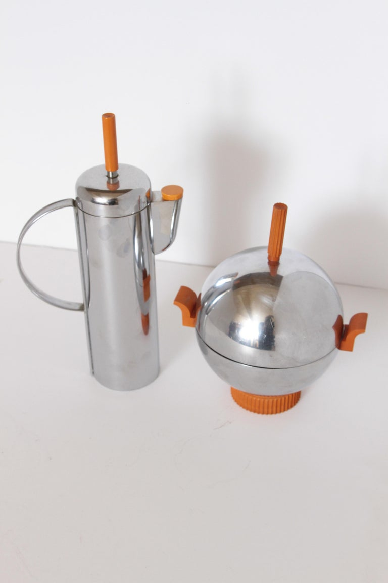 Machine Age Art Deco Revere Ice Bucket / Server Catalin and Chrome For Sale 6