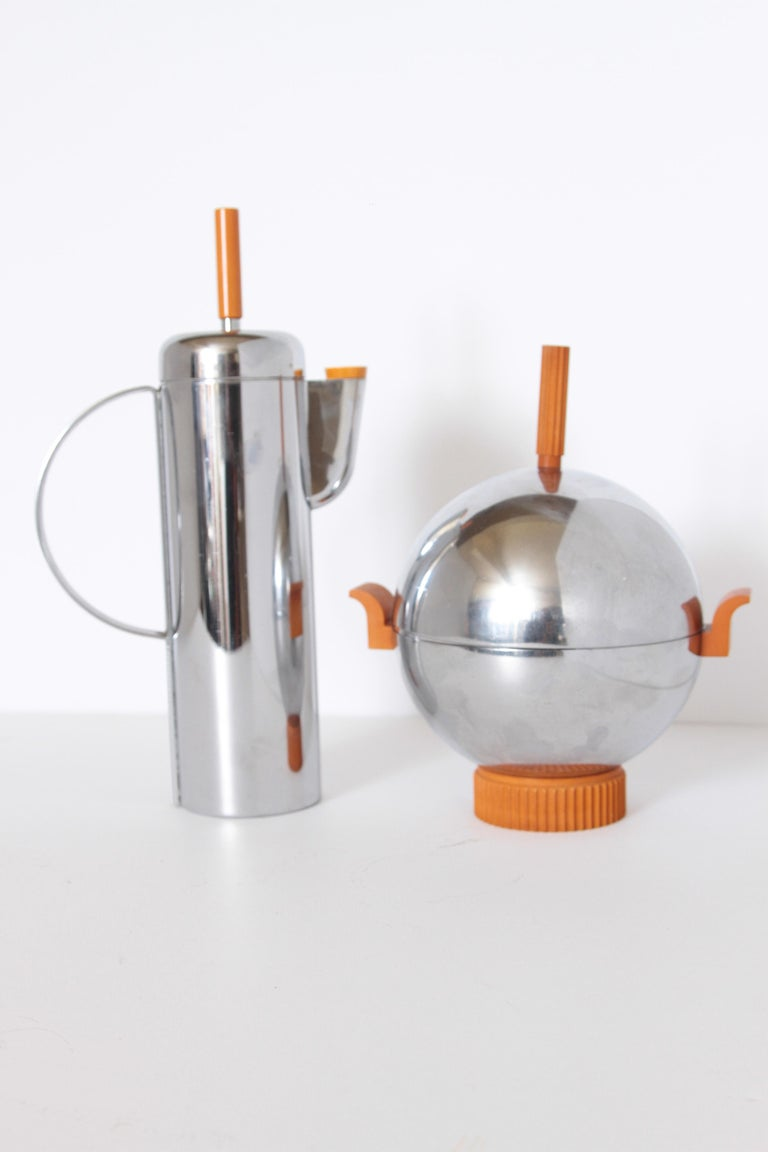 Machine Age Art Deco Revere Ice Bucket / Server Catalin and Chrome For Sale 7