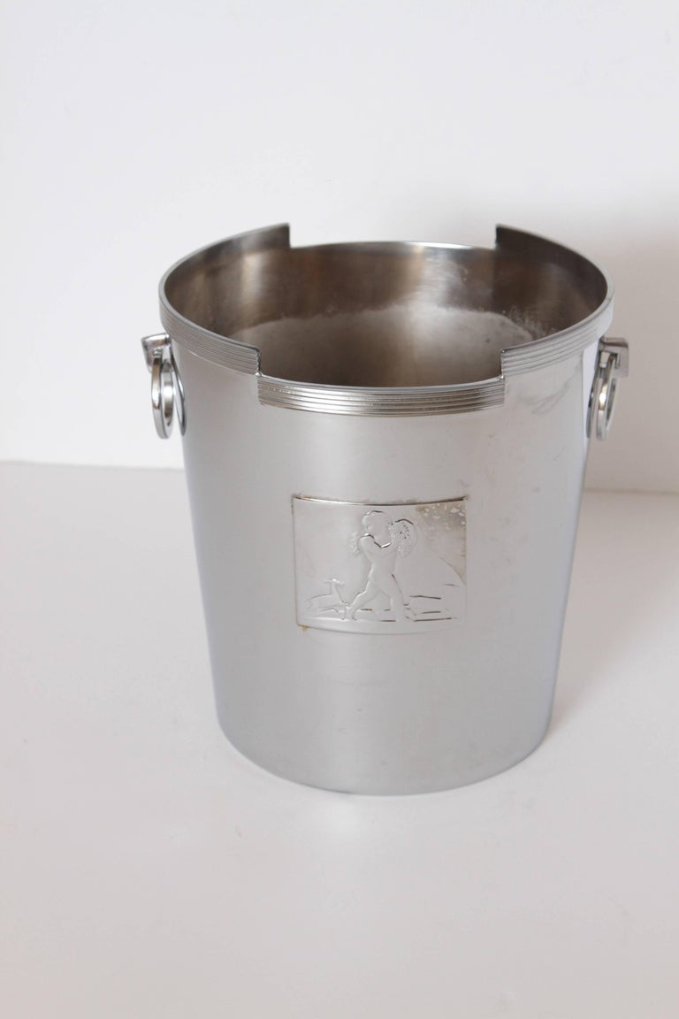 Machine Age Art Deco Rockwell Kent Chase Bacchus wine cooler / champagne bucket.  Bacchus high-relief panel designed by Kent, with initials R K visible.  Incised line ornamentation, in the manner of Lurelle Guild, who also designed for Chase in