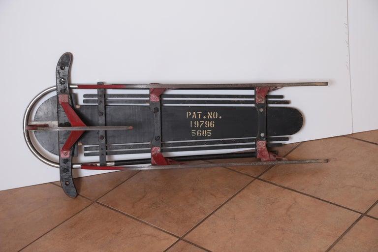 Enameled Machine Age Art Deco Skippy Sno - Plane Sled, Van Doren & Rideout Patented 1934 For Sale