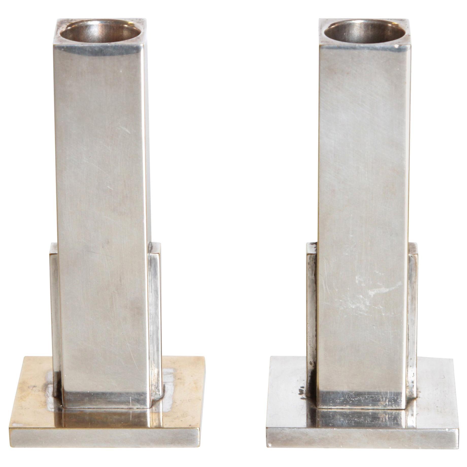 Machine Age Art Deco Skyscraper Candlestick Holders Merle Faber Silver Plate
