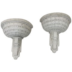 Machine Age Art Deco Skyscraper Plaster Sconces, circa 1930s