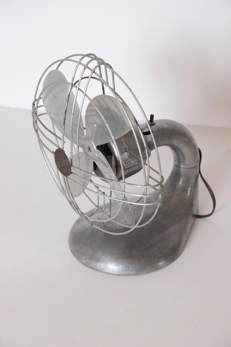 Machine Age Art Deco Streamline Aluminum Zephyr Airkooler Goose-Neck Fan For Sale 7