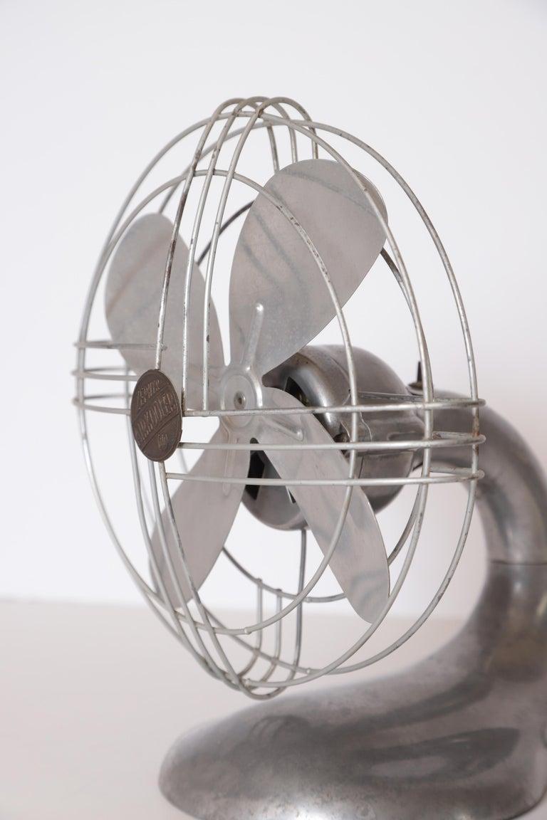 Machine Age Art Deco Streamline Aluminum Zephyr Airkooler Goose-Neck Fan For Sale 8