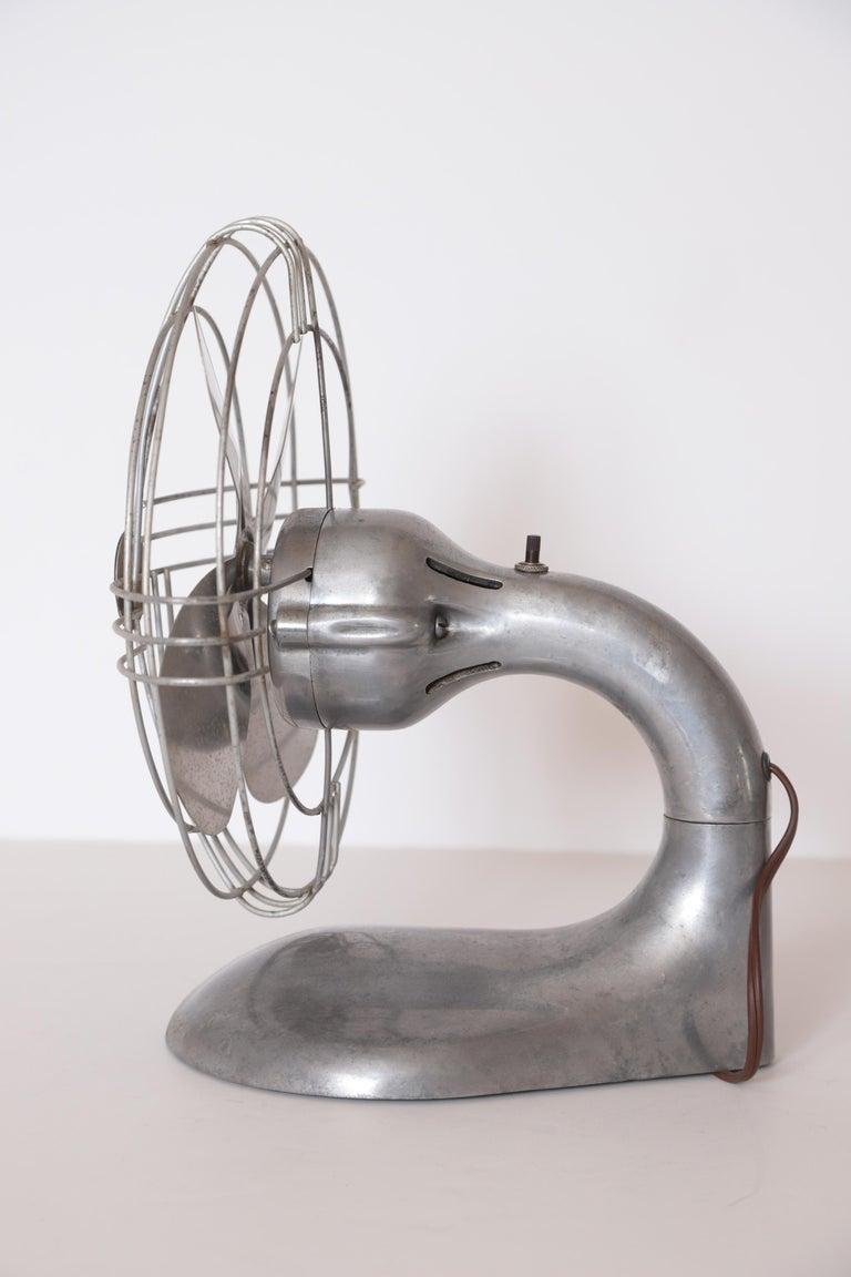 American Machine Age Art Deco Streamline Aluminum Zephyr Airkooler Goose-Neck Fan For Sale