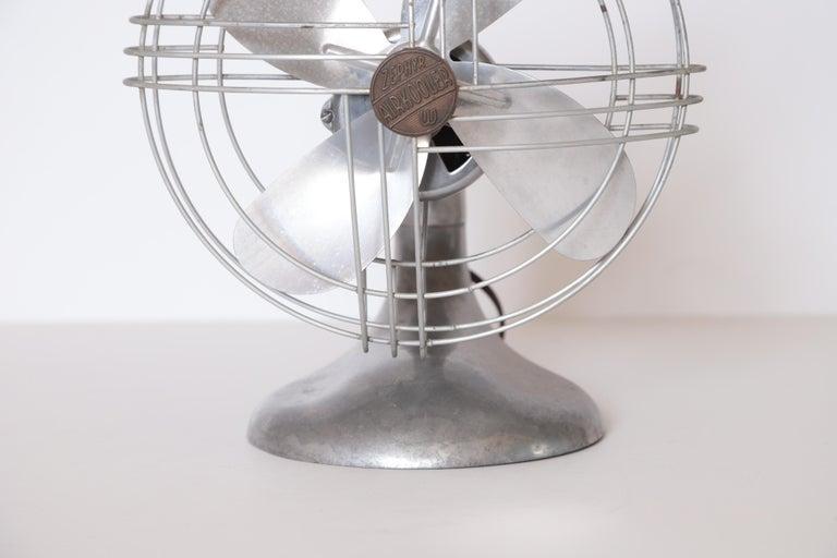 Mid-20th Century Machine Age Art Deco Streamline Aluminum Zephyr Airkooler Goose-Neck Fan For Sale