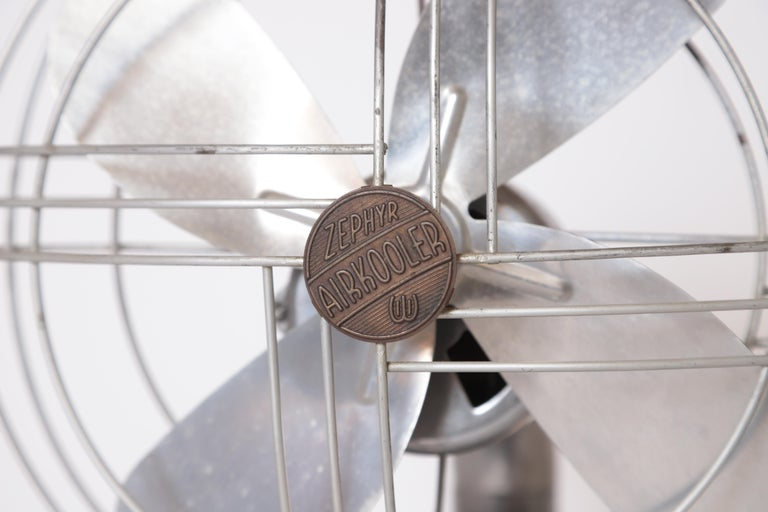 Machine Age Art Deco Streamline Aluminum Zephyr Airkooler Goose-Neck Fan For Sale 1
