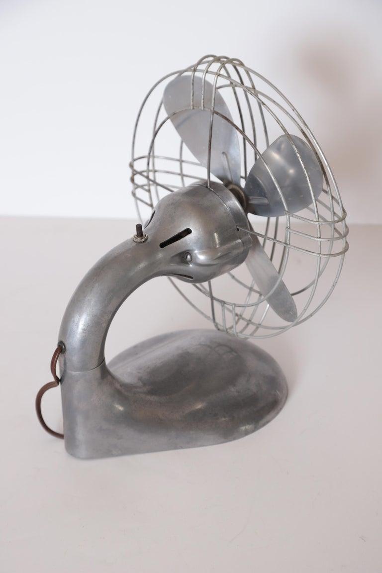 Machine Age Art Deco Streamline Aluminum Zephyr Airkooler Goose-Neck Fan For Sale 3