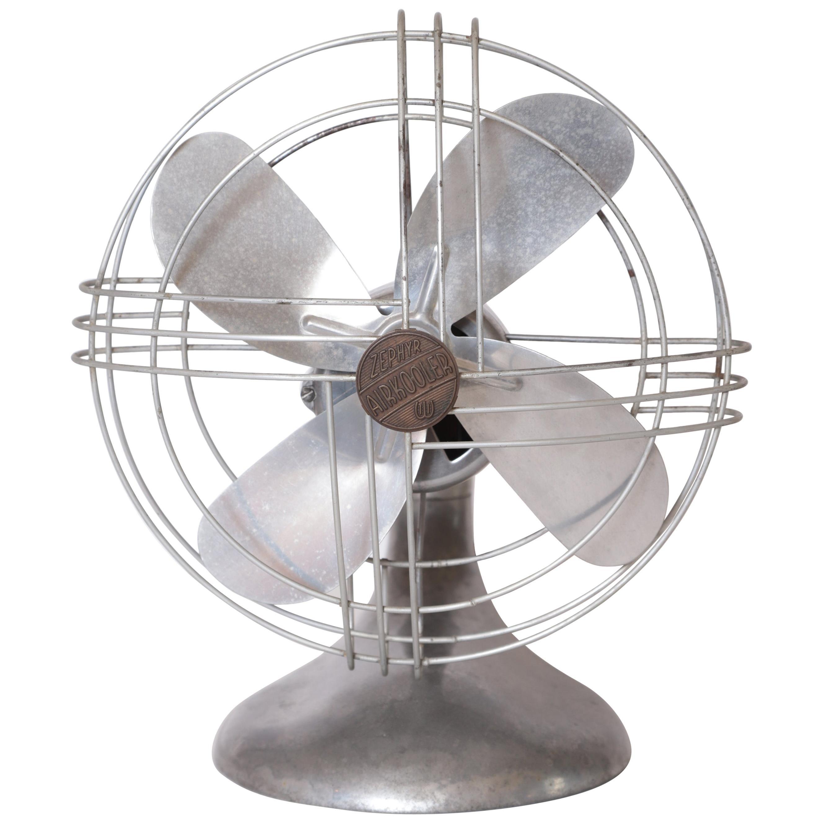 Machine Age Art Deco Streamline Aluminum Zephyr Airkooler Goose-Neck Fan