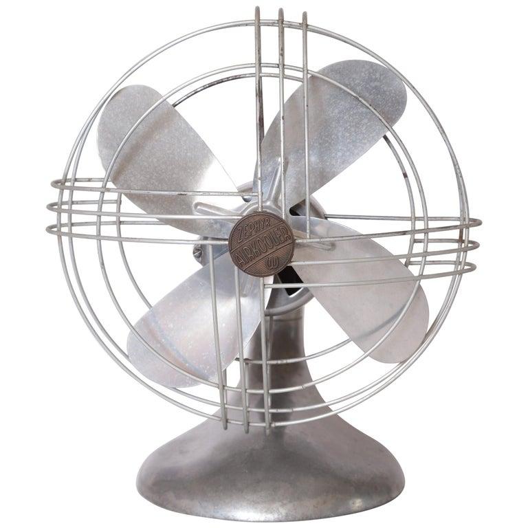 Machine Age Art Deco Streamline Aluminum Zephyr Airkooler Goose-Neck Fan For Sale