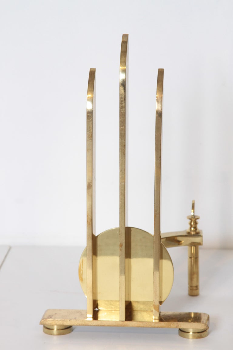 Machine Age Art Deco streamline andirons, in the manner of Walter Von Nessen.