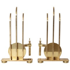 Machine Age Art Deco Streamline Andirons, in the Manner of Walter Von Nessen